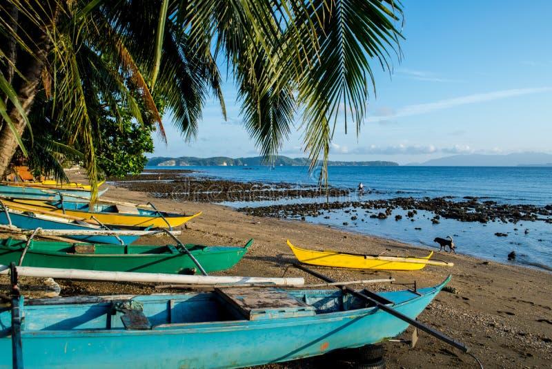 Barcos de pesca coloridos en la playa, Mindoro foto de archivo