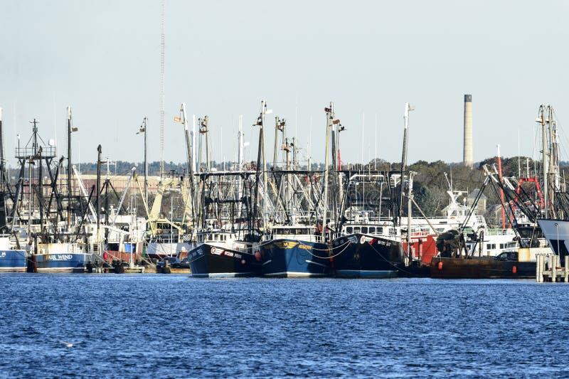 Barcos de pesca Docked em Fairhaven imagem de stock