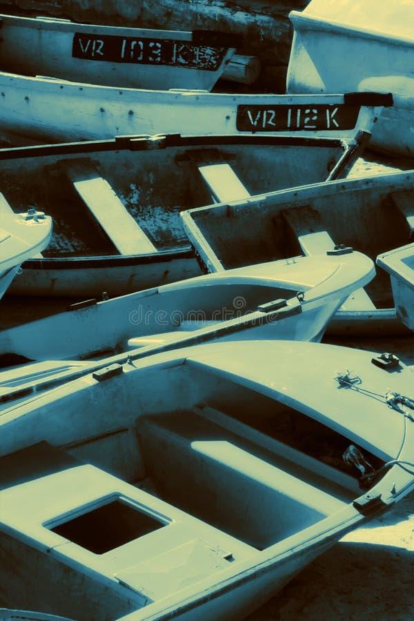 Barcos de pesca empilhados imagem de stock royalty free