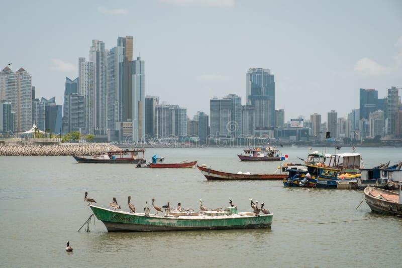 Barcos de pesca en el puerto comercial del mercado de pescados con el CCB del horizonte foto de archivo libre de regalías