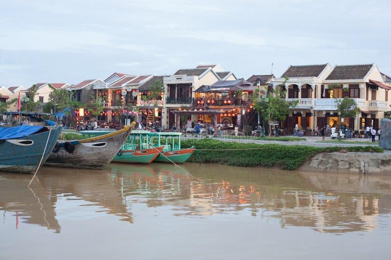 Barcos de pesca Hoi An, Vietname fotografia de stock