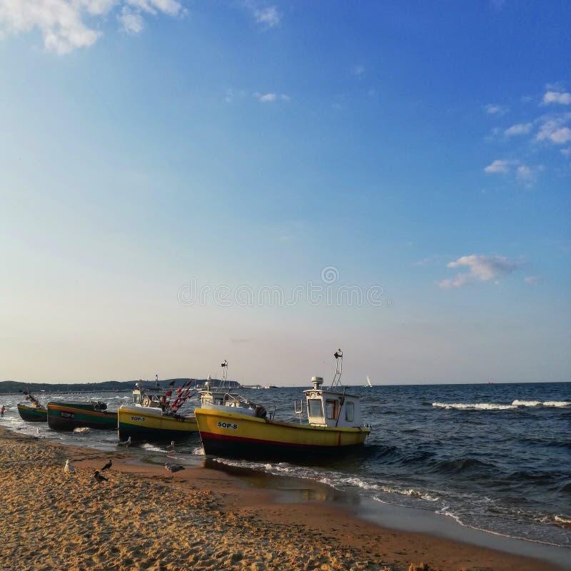 Barcos de pesca no mar Báltico imagens de stock royalty free