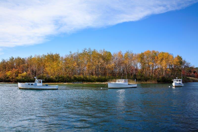 Barcos de pesca no porto de Kennebunkport fotografia de stock royalty free