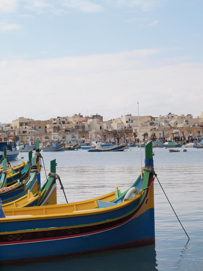 Barcos de pesca tradicionais, malta fotografia de stock royalty free