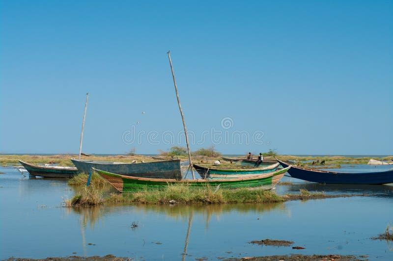 Barcos De Pesca Tradicionales Africanos Foto de archivo libre de regalías