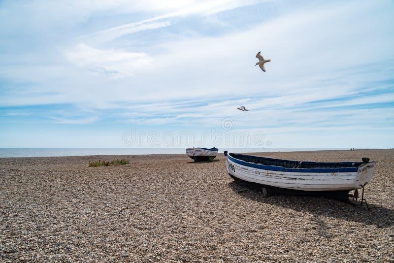 Barcos de pesca velhos em Aldeburgh fotografia de stock