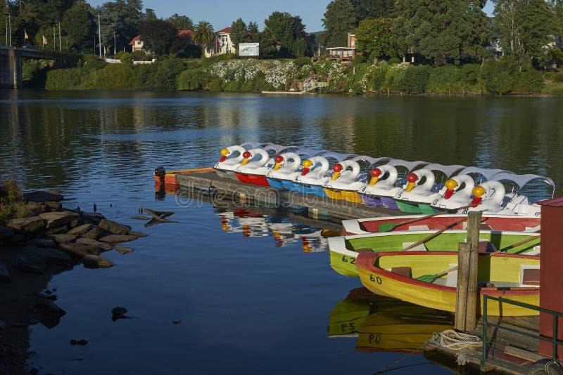 Barcos de placer coloridos en Valdivia, Chile meridional imagen de archivo