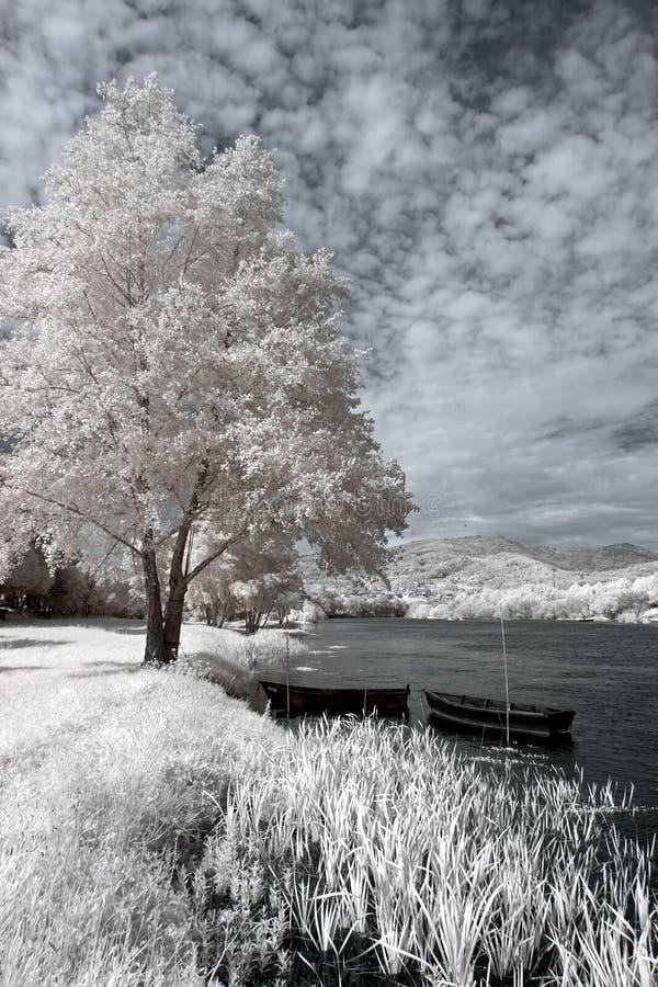 Barcos de rio infravermelhos imagem de stock