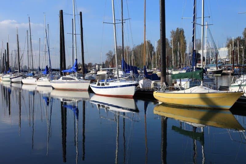 Barcos de vela amarrados, Portland Oregon. imagen de archivo libre de regalías