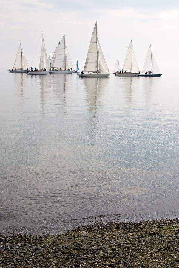 Barcos de vela en agua tranquila foto de archivo