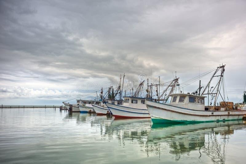 Barcos del camarón en fila foto de archivo libre de regalías