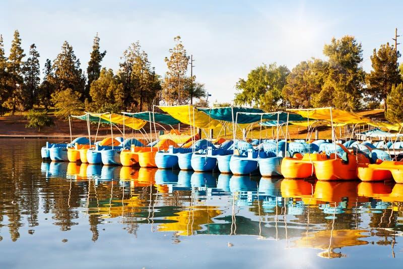 Barcos del pedal para el alquiler en el lago en el parque imagen de archivo