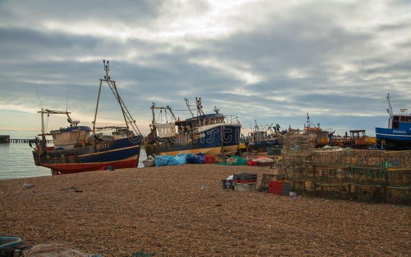 Barcos del pescador de Hastings imagen de archivo