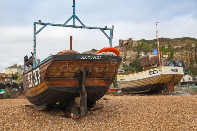 Barcos del pescador de Hastings fotos de archivo