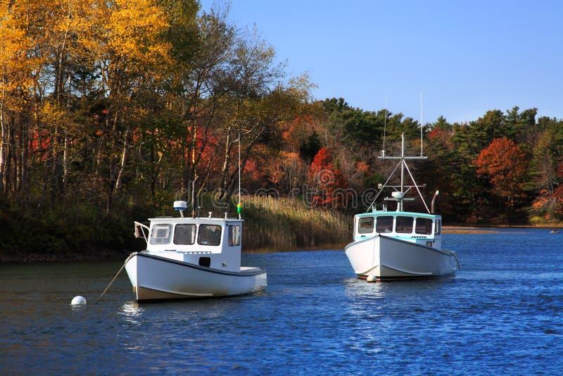 Barcos do porto de Kennebunkport fotografia de stock royalty free