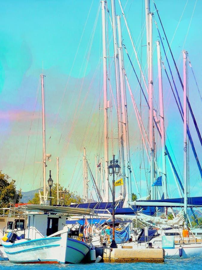 Barcos em um dia ensolarado imagens de stock royalty free