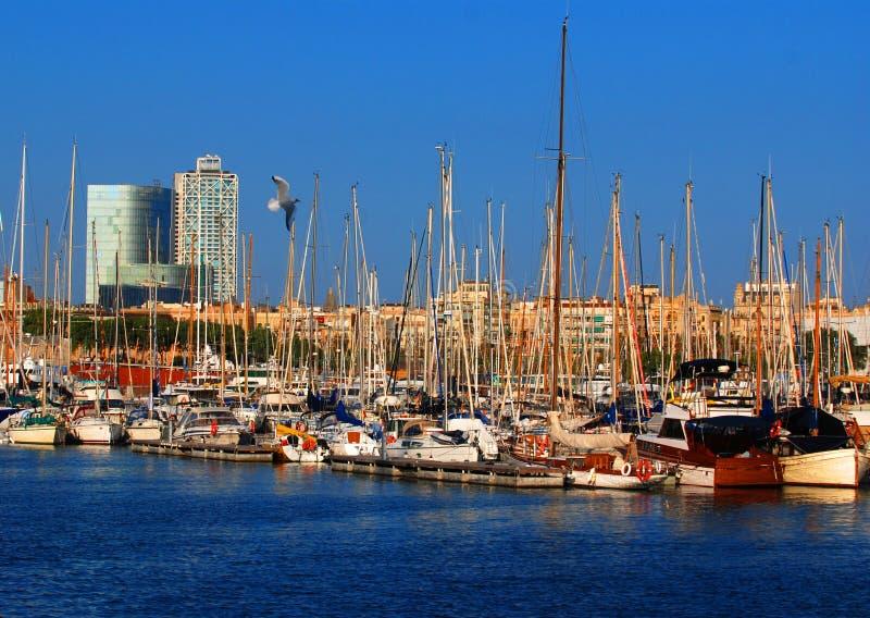 Barcos en Barcelona foto de archivo libre de regalías