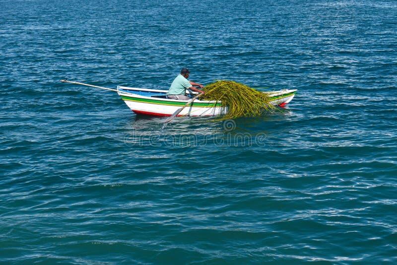 Barcos en Copacabana, Bolivia imagenes de archivo