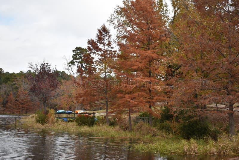 Barcos en el parque de estado de Daingerfield en Daingerfield Texas Nov 25 2018 fotografía de archivo
