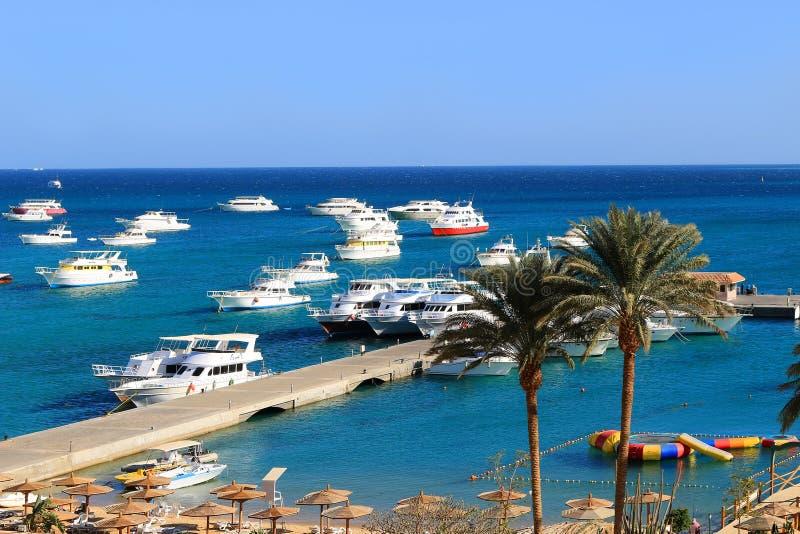 Barcos en Hurghada, Egipto fotos de archivo