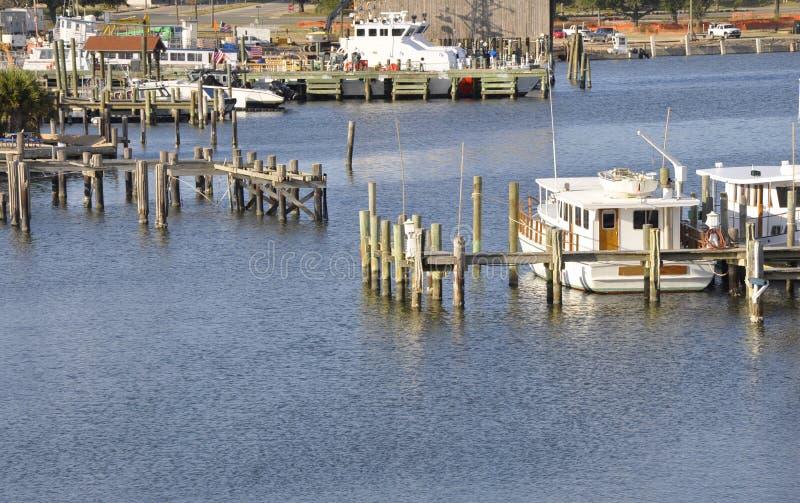 Barcos entrados em Biloxi, Mississippi fotos de stock