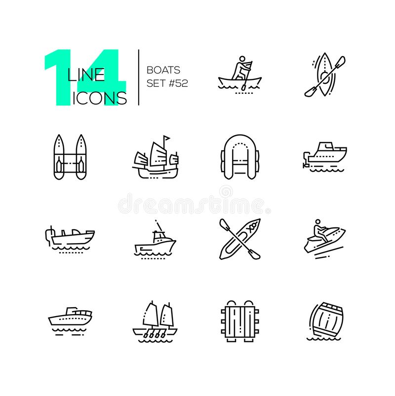 Barcos - linha fina moderna ícones do projeto ajustados ilustração royalty free