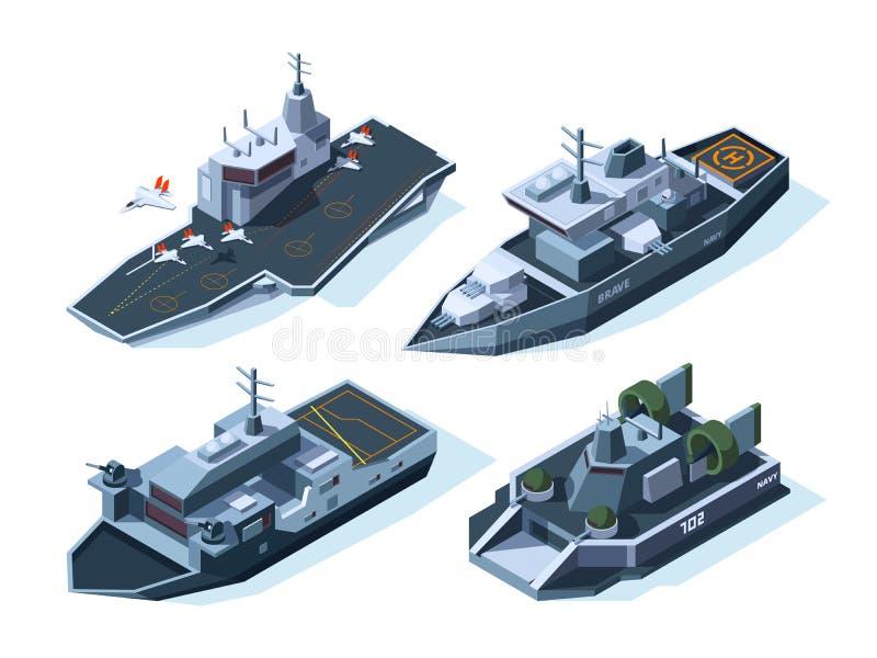 Barcos militares isométricos Marinha do americano do vetor ilustração do vetor