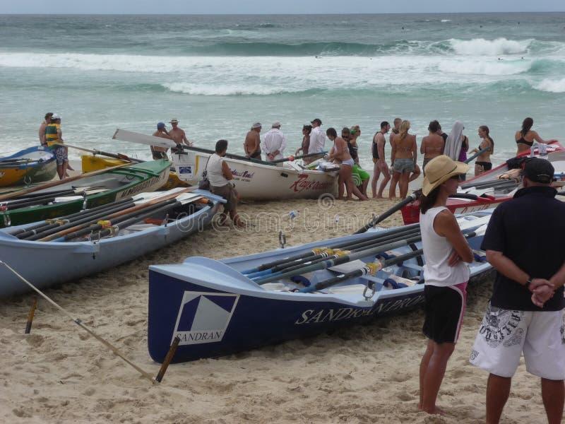 Barcos na prontidão para uma raça da ressaca fotografia de stock royalty free