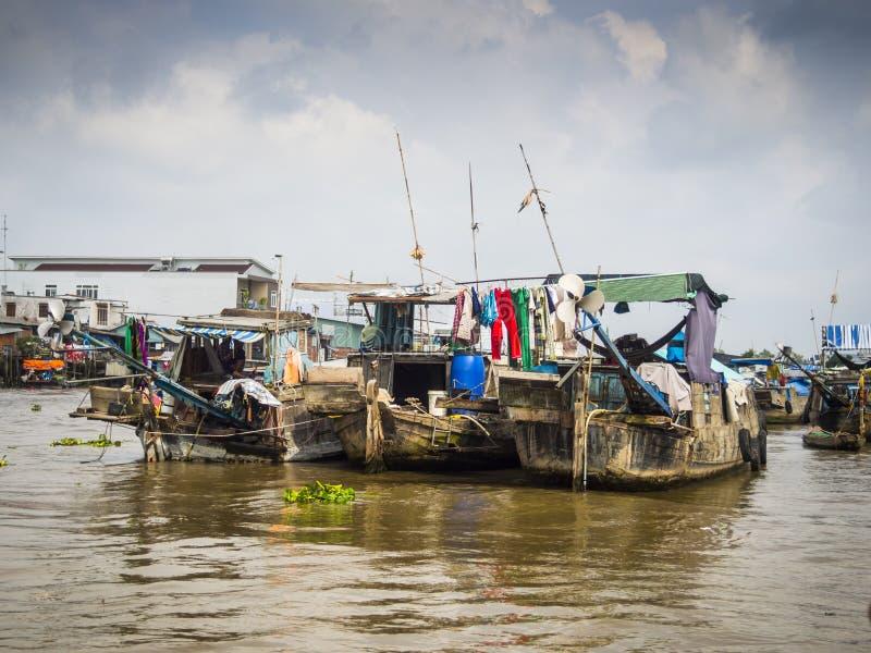 Barcos no delta de Mekong foto de stock
