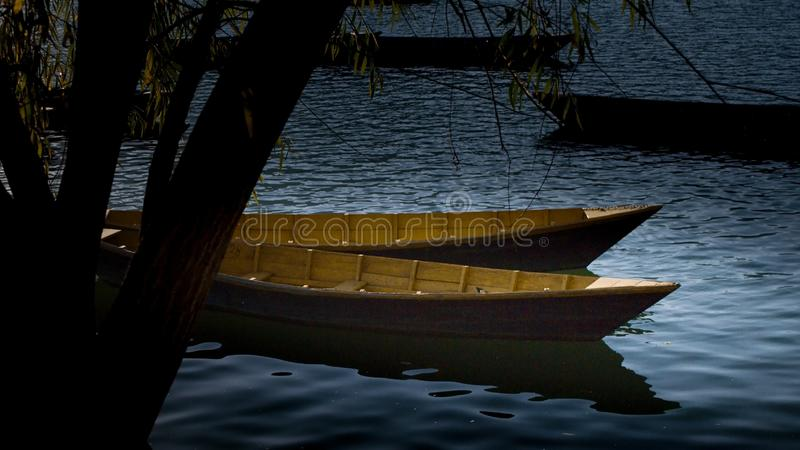Barcos no lago Phewa, Pokhara, Nepal fotos de stock royalty free