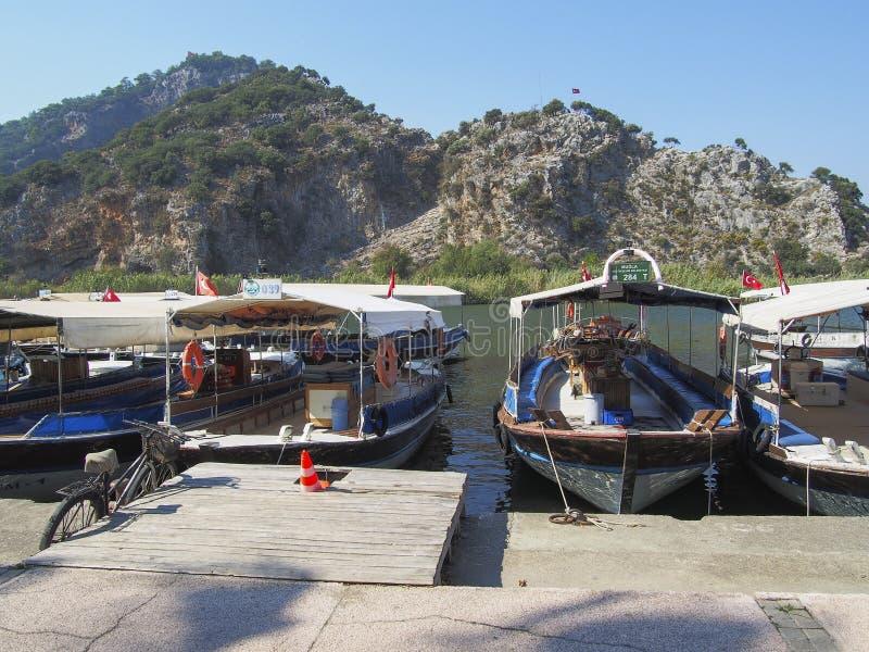 Barcos no porto, Dalyan Turquia imagens de stock royalty free