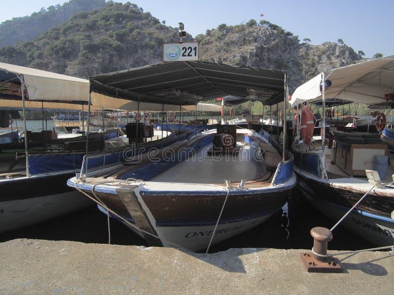 Barcos no porto, Dalyan Turquia fotografia de stock royalty free