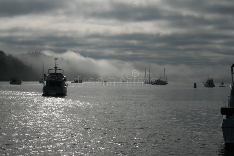 Barcos no porto nevoento de Reid imagens de stock royalty free