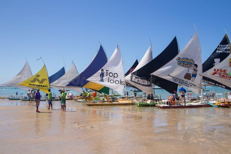 Barcos Oporto de Galinhas de Jangada foto de archivo