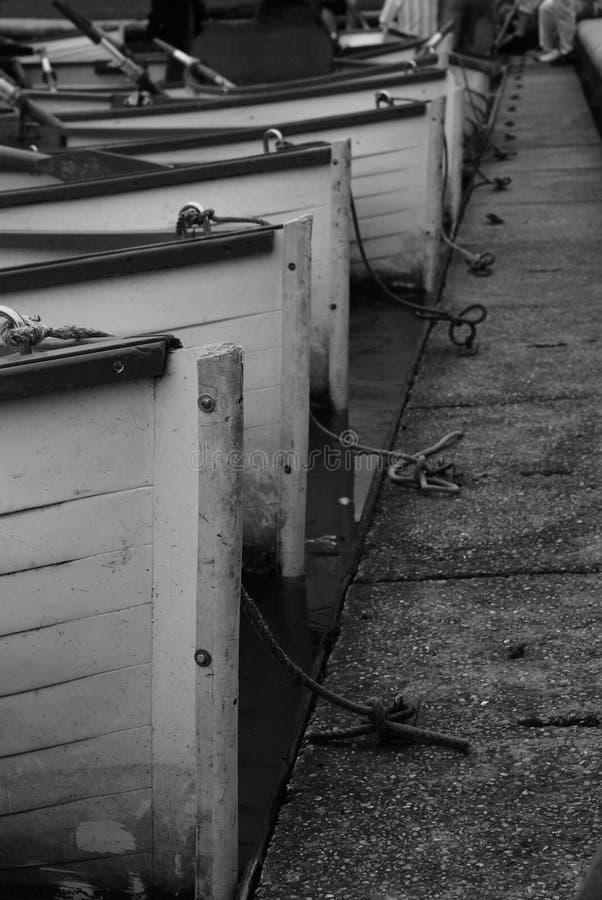 Barcos a remos em uma linha no lago fotos de stock