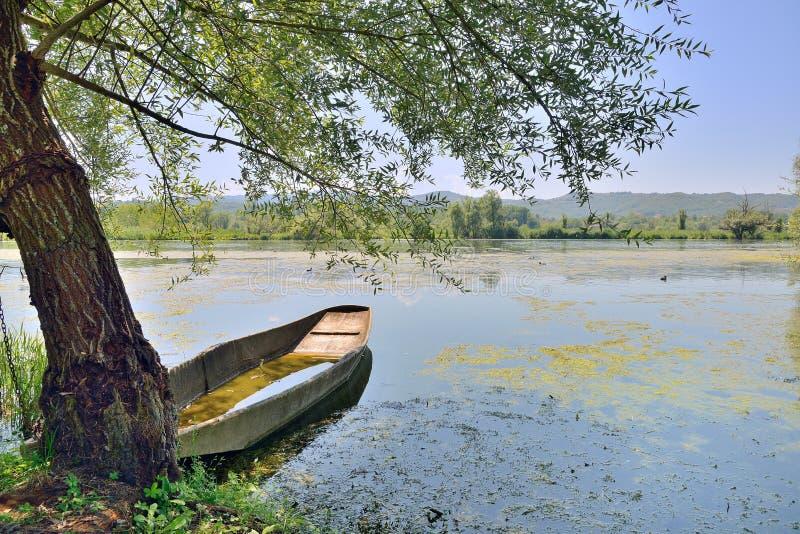 Barcos tradicionais de Nane no lago Fibreno foto de stock