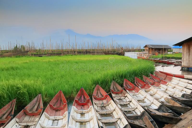Barcos tradicionales en Rawa que encierra el pantano fotos de archivo