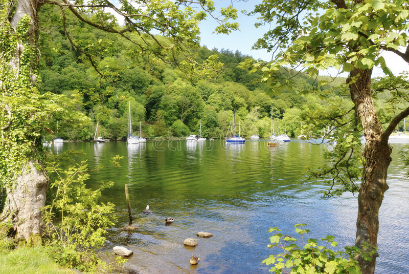 Barcos y árboles en Windermere fotos de archivo