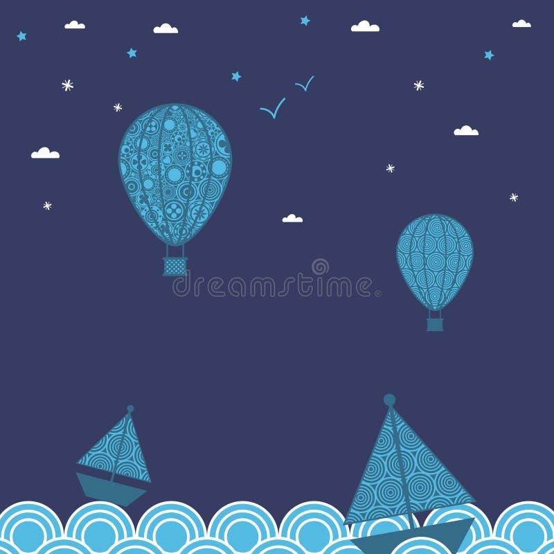 Barcos y globos libre illustration