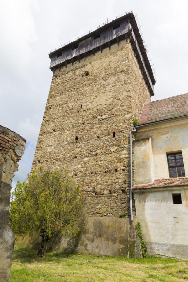 Barcut ha fortificato la chiesa - campanile fotografie stock libere da diritti