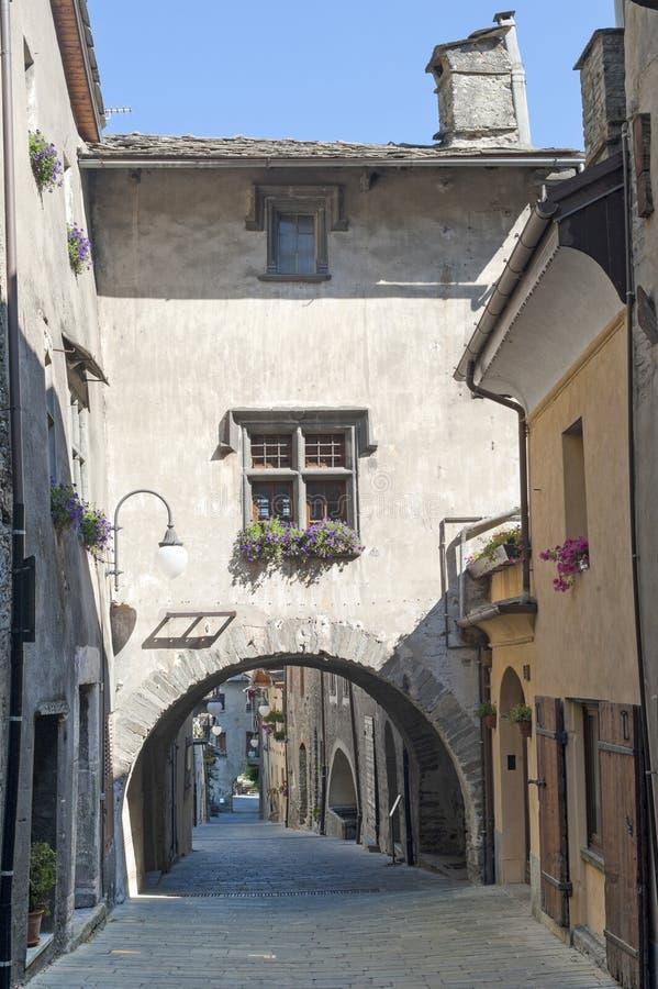 Bard (Aosta, Italië) - Middeleeuws dorp stock foto