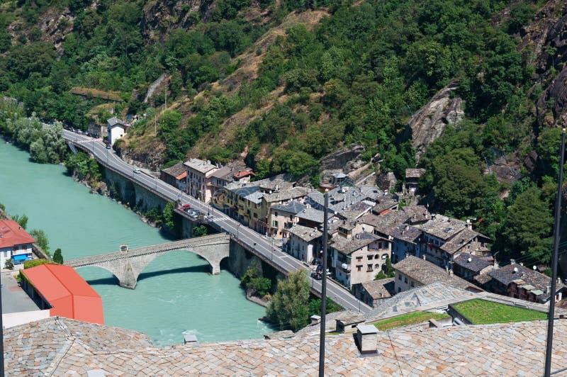 Bard, de Aosta-Vallei, Italië, Europa stock foto's