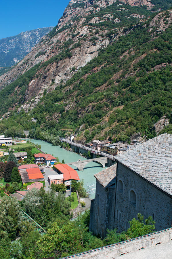 Bard, de Aosta-Vallei, Italië, Europa stock afbeeldingen