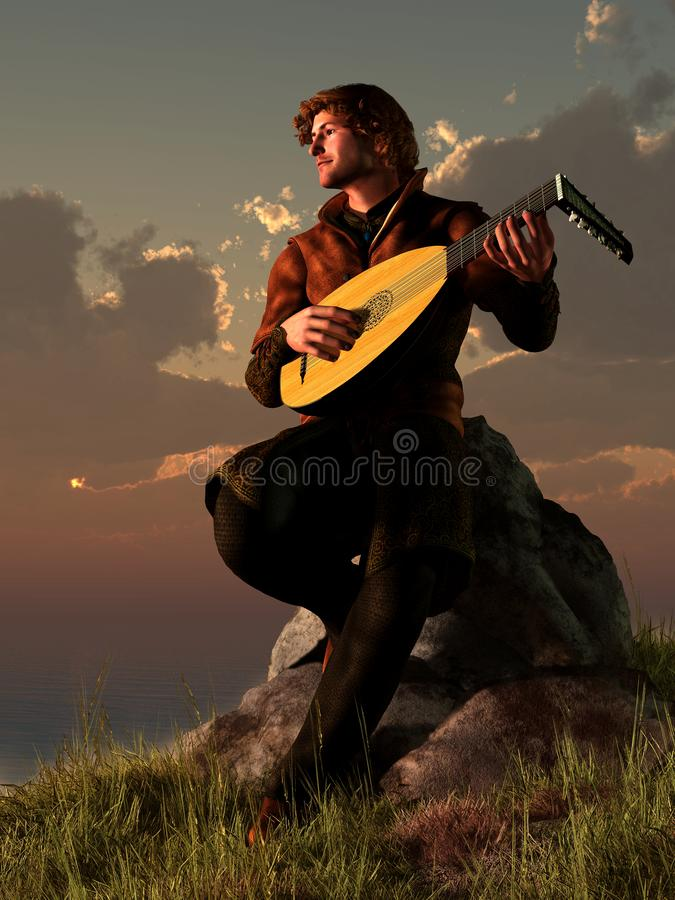 Bard with Lute. A bard plays his lute while sitting on a rocky point next to the ocean as the sun sets over the water. The medieval musician makes music for the stock illustration