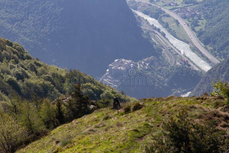 Bard van de de valleivesting van Italië Aosta stock foto
