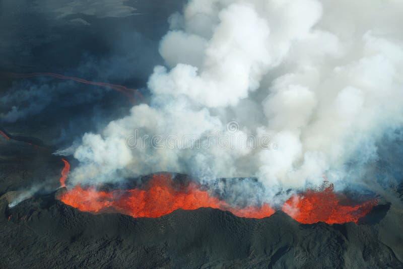 Bardarbunga volcano eruption in Iceland royalty free stock image
