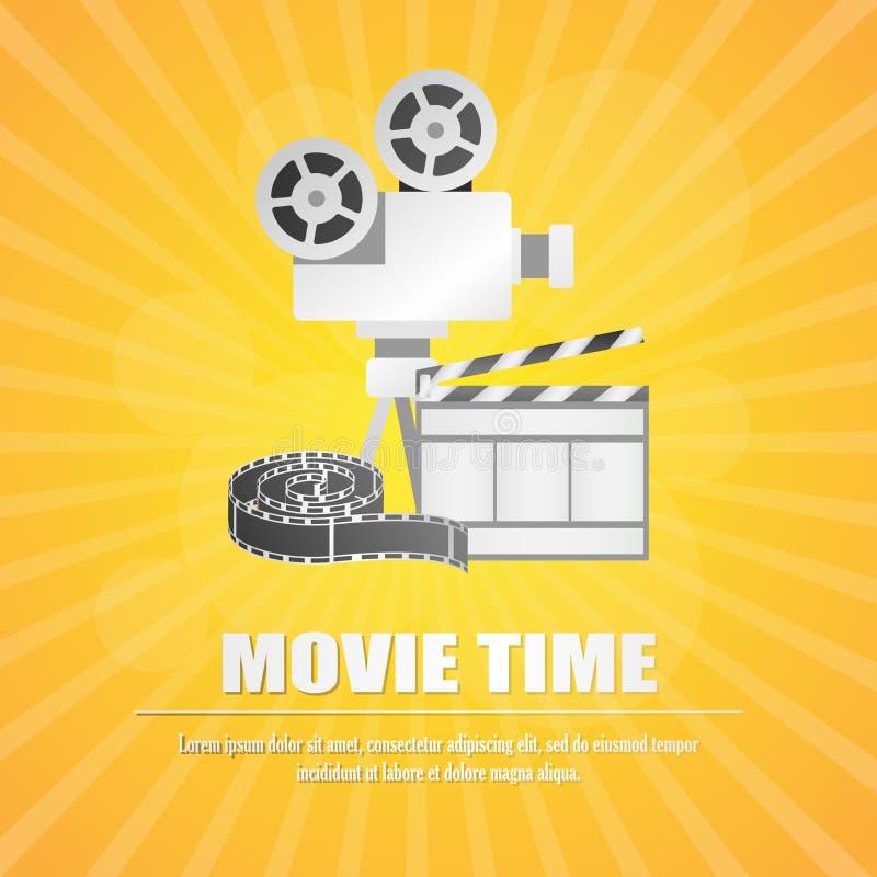 Bardeau de film, avec la bande de film au vecteur jaune de fond illustration de vecteur