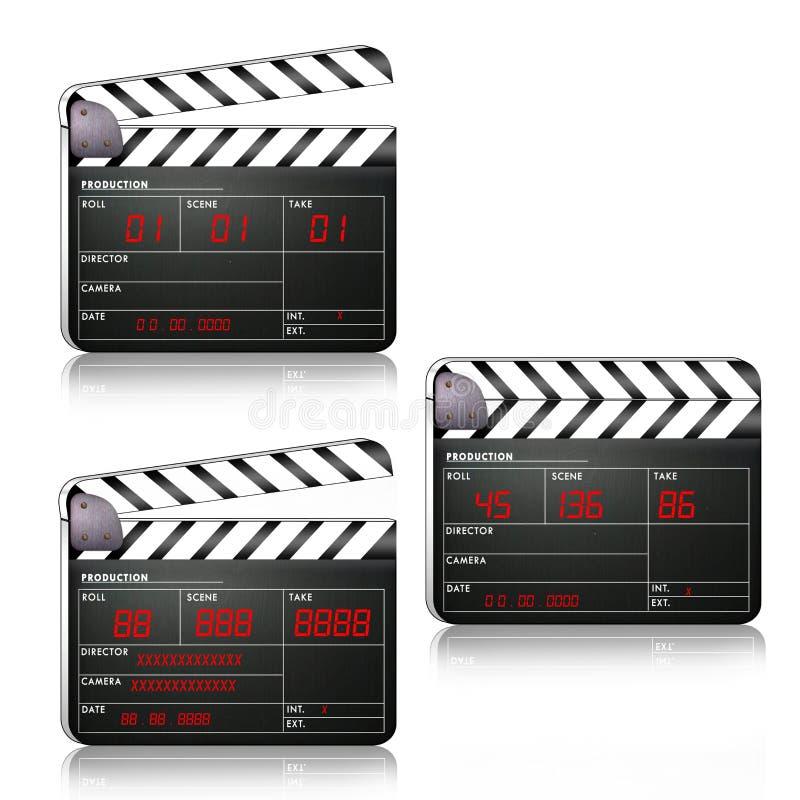 Bardeau de film dans différentes positions illustration libre de droits