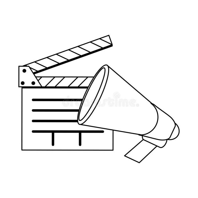 Bardeau et corne de brume de cinéma noirs et blancs illustration libre de droits