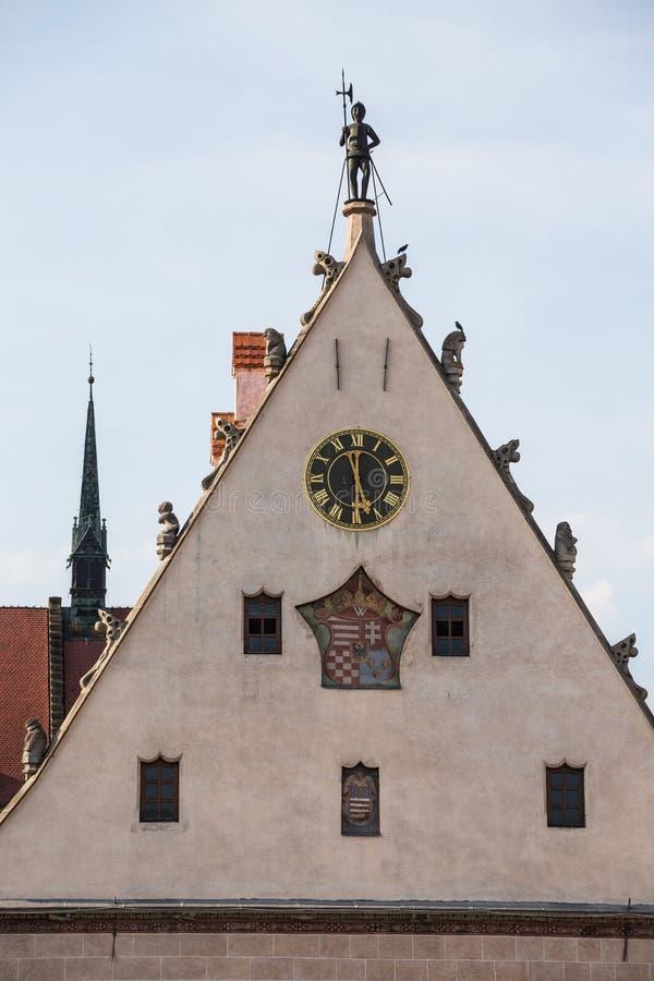 Bardejov,斯洛伐克 老城镇厅细节  免版税图库摄影